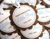 25 Thank Heaven for Little Boys Scalloped Circle Baby Shower Favor Tags in Brown and Light Blue with Satiny White Ribbon - READY TO SHIP