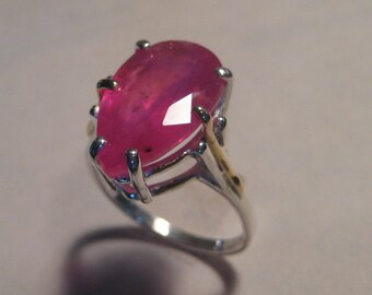 Beautiful  Ruby Ring .... Sterling Silver with 14 kt ROSE Gold wire    ... size 7 1/2         ............  e608