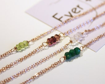 Petite Rose Gold Three-Stone Gemstone Bracelet - Choose Your Gemstone - Simple and Small