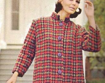 Crocheted Plaid Coat with Mandarin Collar  (U15)- Pattern  - PDF