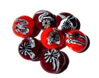 Handmade Lampwork Glass Beads Lentil Orange Burgundy Murrini set of 7