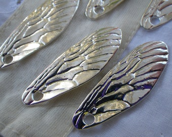Cicada Wing Charms Silver Alloy 6 Pcs