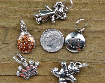5 Silver Finished Little Girl Set of Charms