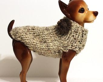 Oatmeal Dog Sweater - Hand Knit