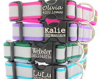 Personalized Reflective Dog Collar - with Laser Etched Buckle - 8 Colors to Choose From