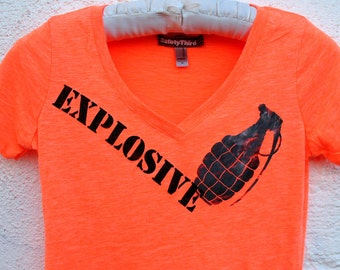 Neon orange heather womens EXPLOSIVE grenade tshirt Deep V tshirt black safety 3rd neon clothing burning man S to XXL lime pink yellow Vneck