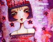 Inspirational Art Print, Girl Art, 5 x 6.5, Text Art, Motivational Whimsical Illustration, Mixed Media, Purple Red