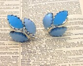 Vintage Blue and Silver Lucite Plastic Clip-on Earrings