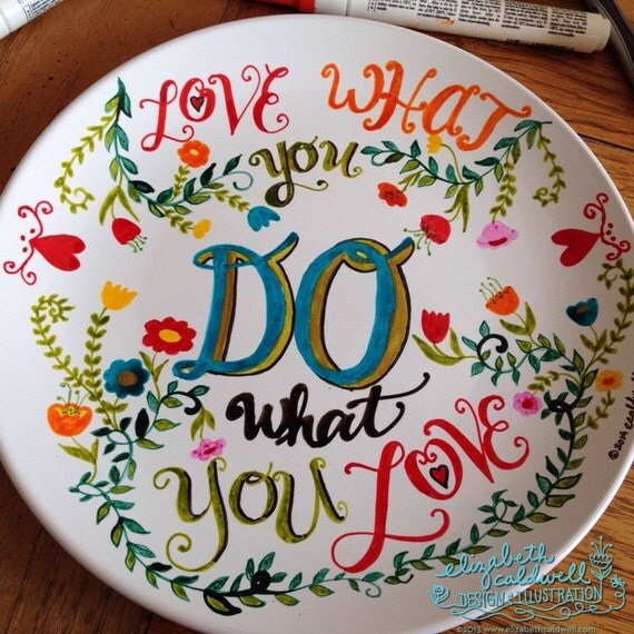 Items similar to do what you love hand drawn ceramic plate for Where to buy ceramic plates to paint