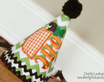 Halloween 1st Birthday Hat - Orange, green, and brown fall party set - Free personalization