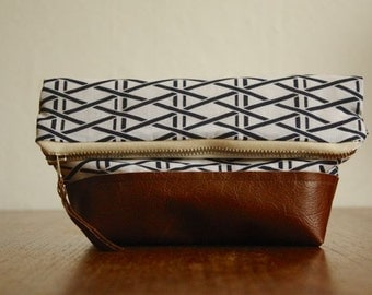 SALE Gift for Mom. Geometric Pouch. Patterned Clutch. Navy Blue Cosmetic Bag. Brown Leather Pouch.