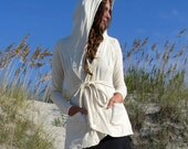 ORGANIC Hooded Perfect Pockets Belted Jacket - ( light hemp and organic cotton knit ) - organic jacket