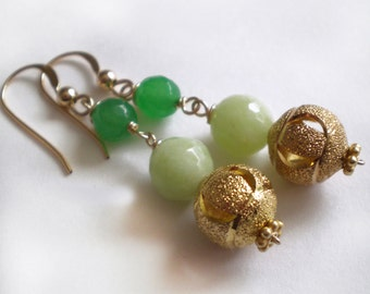 Green and Mint Jade Gold filled earring