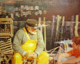 vintage lenticular photograph image unframed Lobster Fisherman Maine 3D picture
