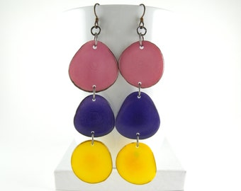 Lilac, Purple Pansy, and Sunshine Yellow Shoulder Duster Trio of Tagua Nut Eco Earrings with Free USA Shipping #taguanut #ecofriendlyjewelry