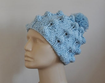 KnitPom Pom Hat Baby Blue Beanie Beret Buble Hat Chunky Hat for Women Teens Man Unisex