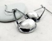 Pearl earrings, Sterling Silver, Dangle, oxidized, Birthstone jewelry