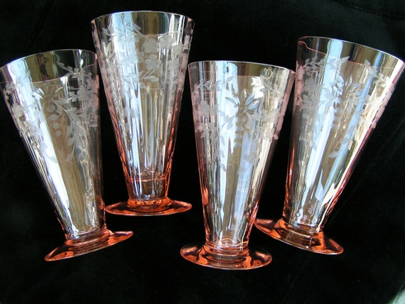 Holiday Sale Beautiful Vintage Pink Crystal Drinking