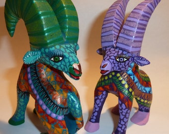 Roaming Rams Oaxacan Woodcarvings Alebrijes Animals by Zeny and Reyna Fuentes