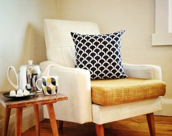 Black and White Billow Geometric Arches Cushion Cover