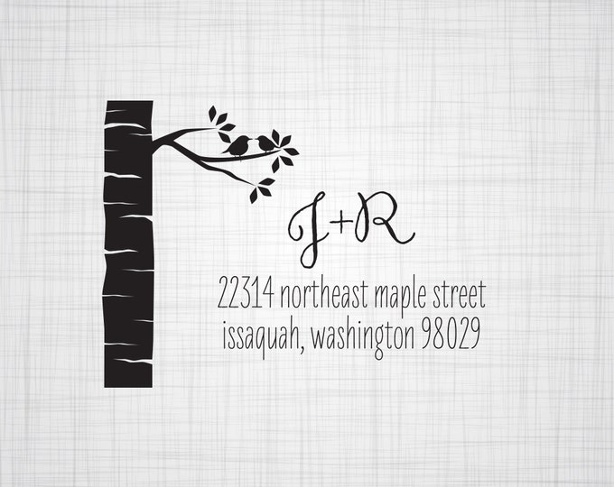 Birch Tree Personalized Return Address Stamp, Wedding Return Address Stamp, Custom Address Stamp, Self Inking Stamp, Rubber Stamper