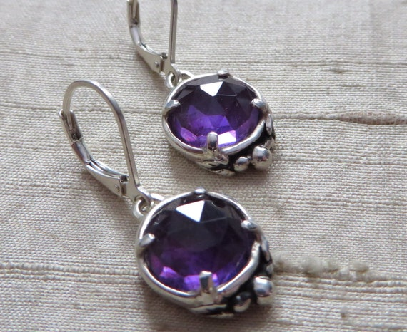 Rose Cut Amethyst Leaf Solitaire Earrings