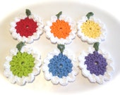 Rainbow And White Crocheted Face Scrubbies-Miniature Set Of Six