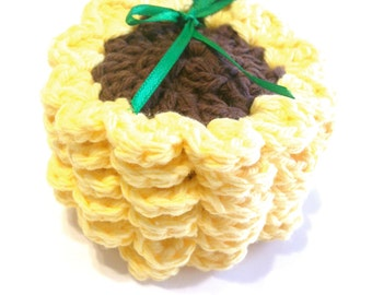 Sunflower Crocheted Face Scrubbies-Miniature Set Of Six