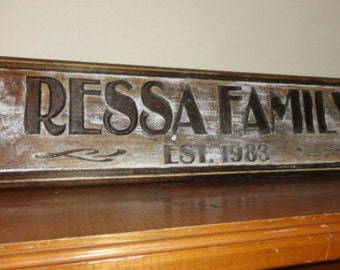 Engraved Wedding Sign Personalized Family Signs Wood Stained Rustic Family Sign