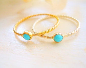 Dainty Sleeping Beauty Turquoise Ring Twisted Rope Ring Turquoise Stacking Ring Silver or Gold - made to order in your finger size