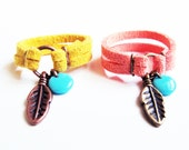 Feather and Bead Suede Charm Ring - Choose Your Color