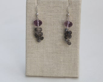 Earrings: Faceted Amethyst and Labradorite Roundrels Tassel Clusters with Sterling Silver Ear Wires