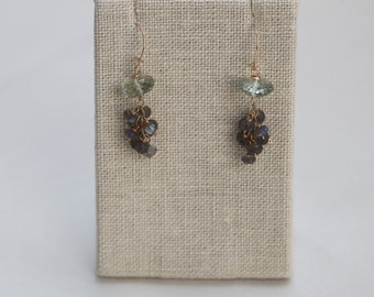 Earrings: Praesolite (Green Amethyst) Roundrels Tassel Clusters with Labradorites and Gold-Filled (vermeil) Ear Wires