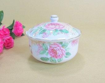 Vintage Shabby Cottage Chic Trinket Dish, Covered Dish, Ring Dish