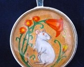 Decorative Rat with Flowers Pendant or Key Ring Unique Wearable Art for Rat Lovers