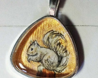 Squirrel on Gold Pendant OOAK Wearable Art Perfect for the Squirrel Lover or Rehabber