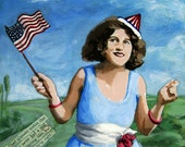 Patriotic Pat - Political humor archival print from original mixed media painting