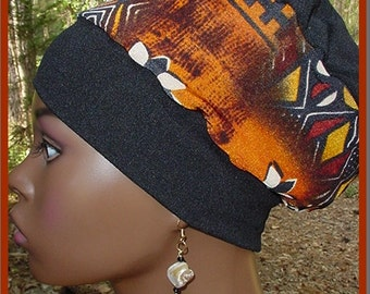 Crown-Black with Rust and White-Locs-Natural Hair-Beanie