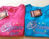 Princess Tshirt with Metallic Accents and FREE Personalization Choose from 2 Designs