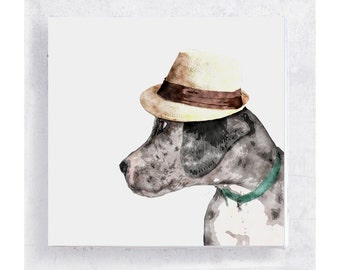 Great Dane Dog Art - Merle Puppy with Hipster Straw Hat on 5x5 Canvas Print Block  - Mr. Cash -  Animal Portrait -  Home Decor - Wall Art