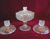 Fenton Crystal Velvet Water Lily, Candle Sticks and Candy Dish, pm579