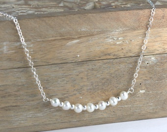 Freshwater Pearl and Silver Necklace, Silver Pearl Necklace, Simple Pearl Silver Necklace, Bridal Jewelry #786