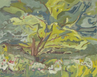 "Art Original Plein Air Landscape Oil Painting Impressionist Abstract Green Orchard Quebec Canada Fournier "" The Flying apple Tree "" 14 x 18"