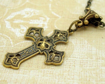 Gothic Cross Necklace in Neo Victorian Jewelry Style