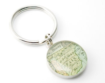 Father's Day Gifts, Fathers Day Key Chain, Vintage Map Key Ring Keychain with Handwritten Engraving.  You Select City.