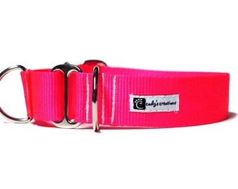 Wide 1 1/2 inch Adjustable Buckle or Martingale Dog Collar in Neon Pink