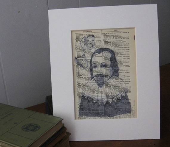 Art Print on Vintage Dictionary Page of The Bard, Shakespeare