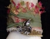 Fabric art cuff bracelet U1