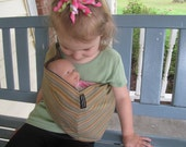 Doll Sling - Children's Toy Pouch - olive handloomed cotton stripe