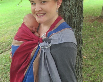 Handloomed Ring Sling - Wide Baby Sling  - Himal Stripe Cotton - DVD included